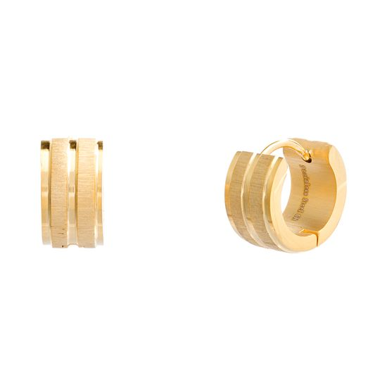 Imagen de Gold-Tone Stainless Steel Polished and Matte Stripped Textured Huggie Earring
