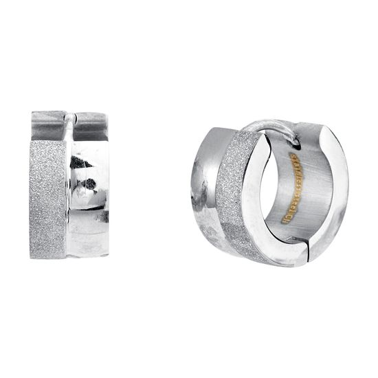 Imagen de Silver-Tone Stainless Steel Polished and Glitter Huggie Earring