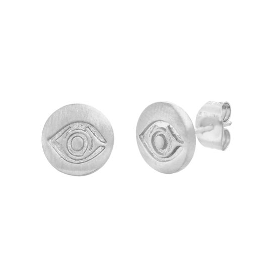 Imagen de Silver-Tone Stainless Steel Evil Eye Design Post Earrings