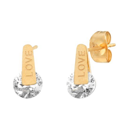 Imagen de Gold-Tone Stainless Steel Cubic Zirconia Love Earring