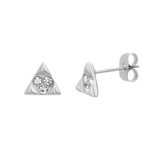 Imagen de Sterling Silver Triangle w/Crystal Center Post Earring