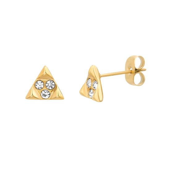 Imagen de Gold-Tone Stainless Steel Crystal Studded Triangle Post Earring