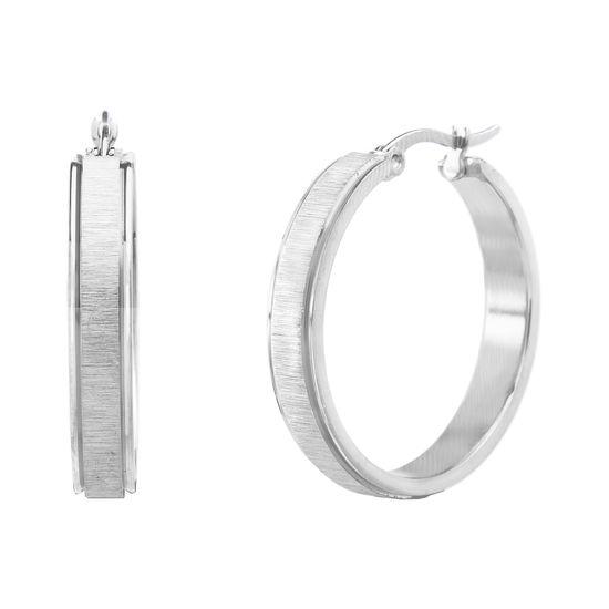 Imagen de Silver-Tone Stainless Steel Matte Textured Center Polished Rim 40mm Hinge Hoop Earrings