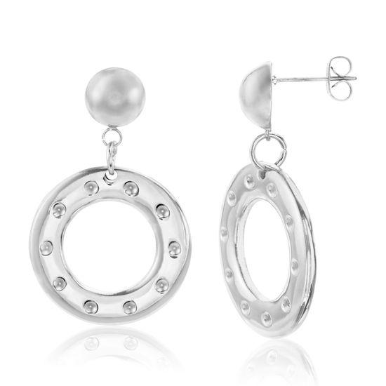 Imagen de Silver-Tone Stainless Steel Dangling Textured Open Circle Post Earring