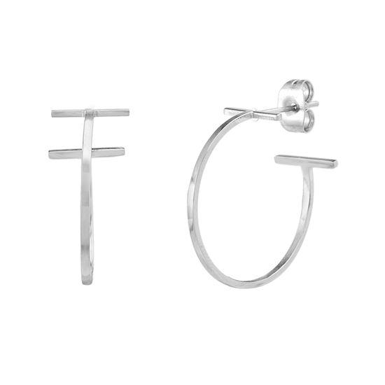 Imagen de Silver-Tone Stainless Steel End Bar C-Hoop Earring