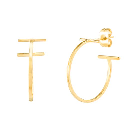 Imagen de Gold-Tone Stainless Steel End Bar C-Hoop Earring