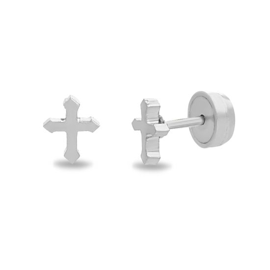 Imagen de Silver-Tone Stainless Steel Cross Front and Back Earring