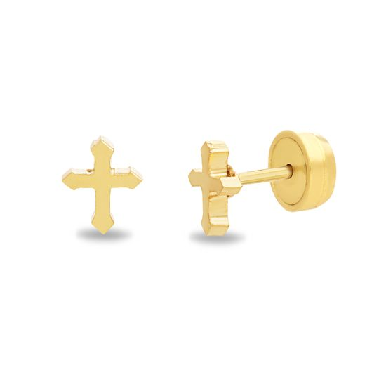 Imagen de Gold-Tone Stainless Steel Cross Front and Back Earring