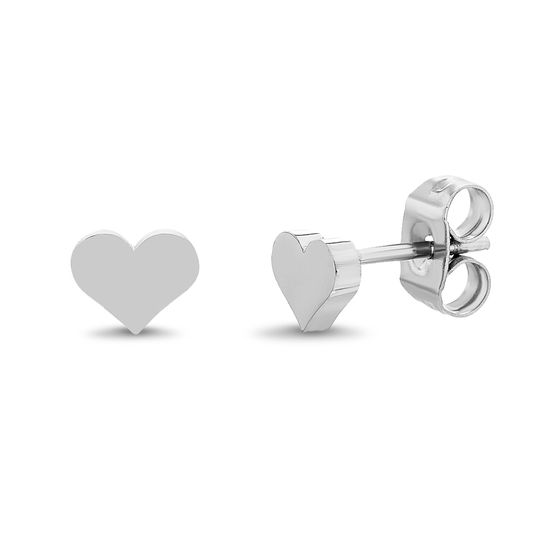 Imagen de Silver-Tone Stainless Steel Heart Front and Back Earring