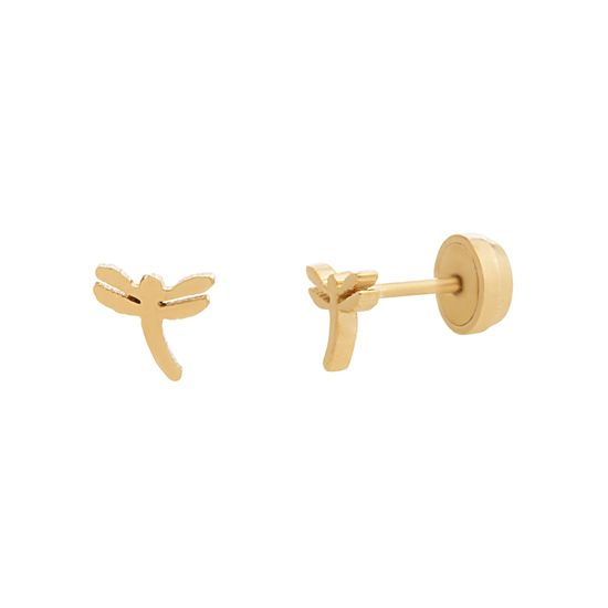 Imagen de Gold-Tone Stainless Steel Dragonfly Front and Back Earring