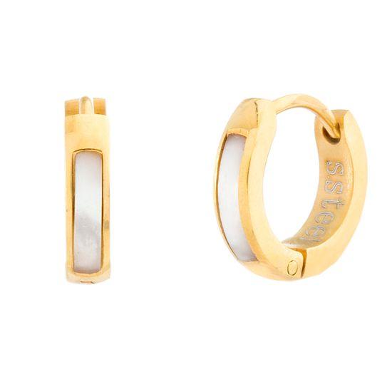 Imagen de Gold-Tone Stainless Steel Freshwater Pearl Stripe Huggie Earring