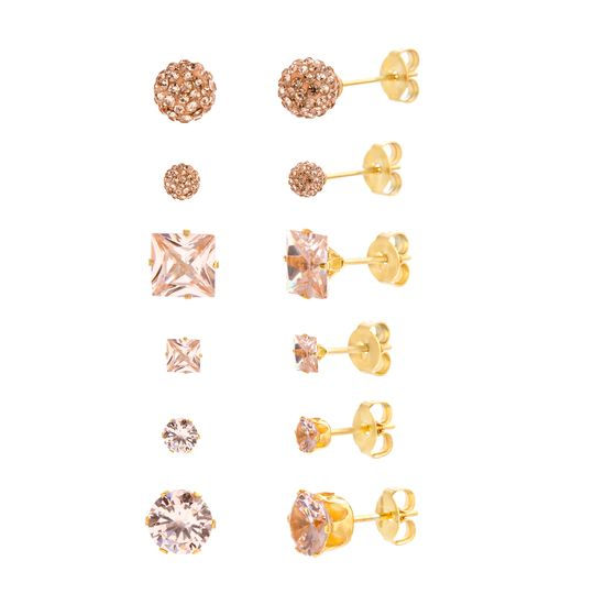 Imagen de Gold-Tone Stainless Steel 6 Piece 4mm Round/7mm Squared Champagne Crystal Post Earring Set