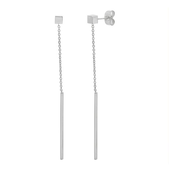 Imagen de Silver-Tone Stainless Steel Dangling Cable Chain With Bar Design Post Earring