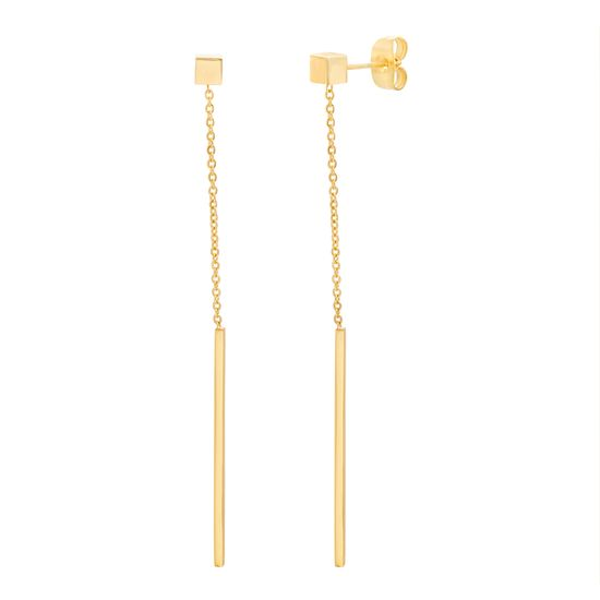 Imagen de Gold-Tone Stainless Steel Dangling Cable Chain With Bar Design Post Earring