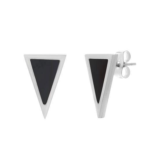 Imagen de Silver-Tone Stainless Steel Black Stone Triangle Shape Post Earring