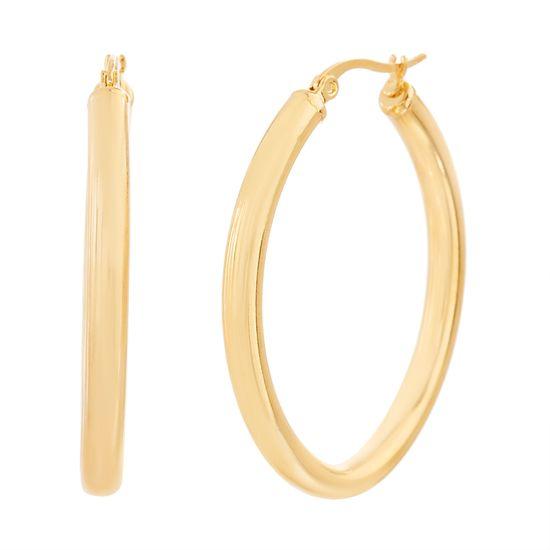 Imagen de Gold-Tone Stainless Steel Oval Hoop Earring