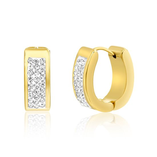 Imagen de Gold-Tone Stainless Steel Pave Crystal Huggie Earring