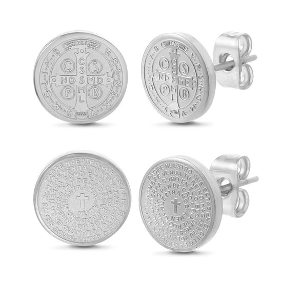Imagen de Silver-Tone Stainless Steel Prayer Disc/San Benito Disc Duo Post Earring Set