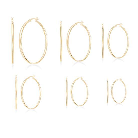 Imagen de Gold-Tone Stainless Steel 6pc Hoop Earring Set