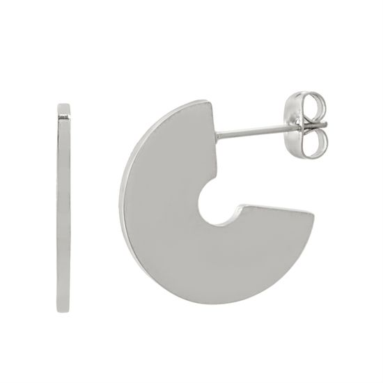 Imagen de Silver-Tone Stainless Steel Polished C-Shaped Post Earring