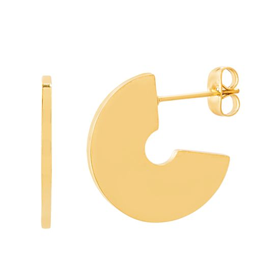 Imagen de Gold-Tone Stainless Steel Polished C-Shaped Post Earring