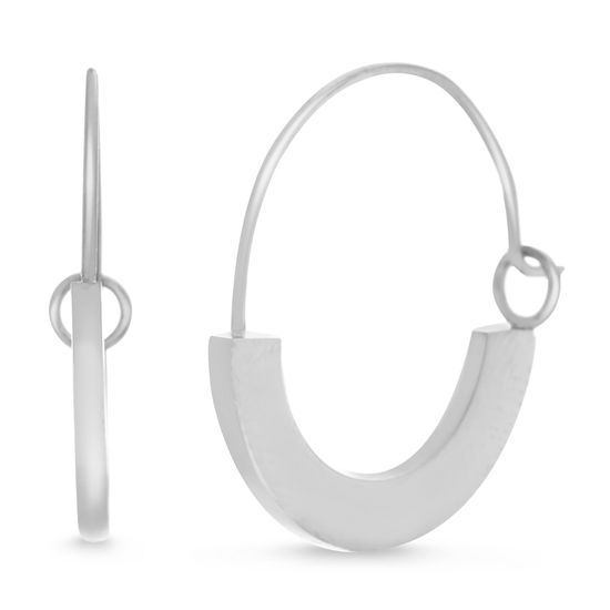Imagen de Silver-Tone Stainless Steel Polished Round Squared Edge 20mm Hoop Earring