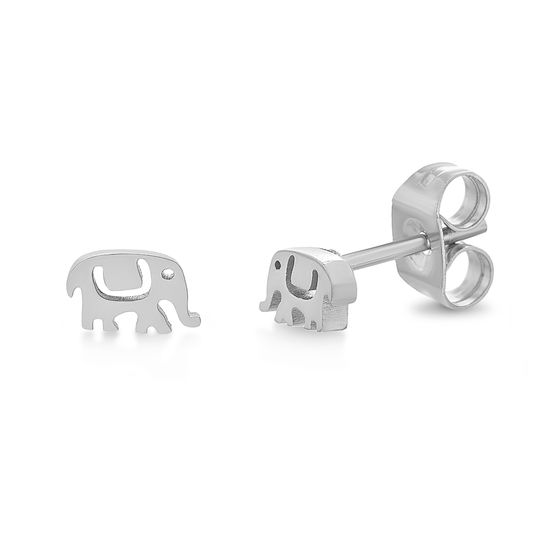 Imagen de Silver-Tone Stainless Steel Textured Elephant Post Earring