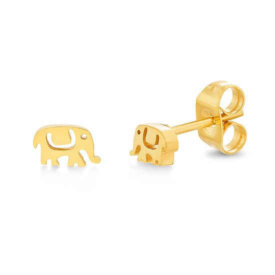 Imagen de Gold-Tone Stainless Steel Textured Elephant Post Earring