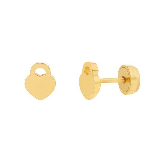 Imagen de Gold-Tone Stainless Steel Heart Lock Design Post Earring
