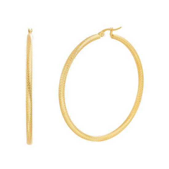 Imagen de 60mm Diamond Cut Textured Design Hoop Earring in Gold IP Stainless Steel