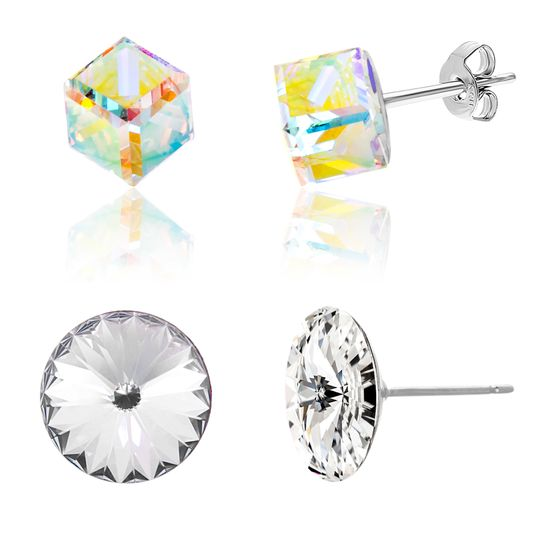 Picture of Silver-Tone Stainless Steel Hexagonal Aurore Boreale & Clear Crystal Duo Stud Earring Set