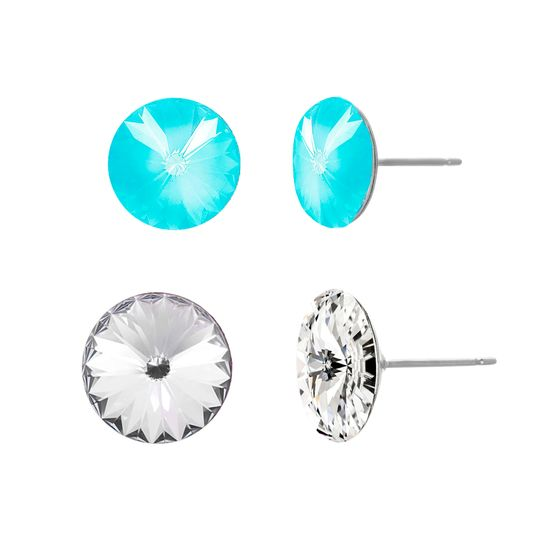 Imagen de Silver-Tone Stainless Steel Aquamarine & Clear Crystal Duo Stud Earring Set