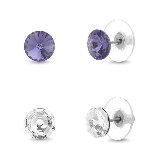 Imagen de Silver-Tone Stainless Steel Tanzanite & Clear Crystal Duo Stud Earring Set
