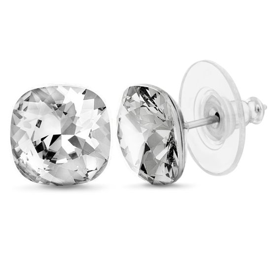 Picture of Silver-Tone Stainless Steel Square Crystal Stud Earring