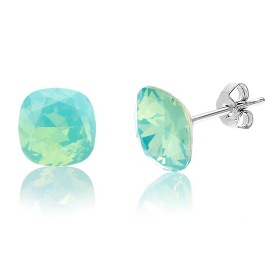 Imagen de Silver-Tone Stainless Steel Square Green Crystal Stud Earring