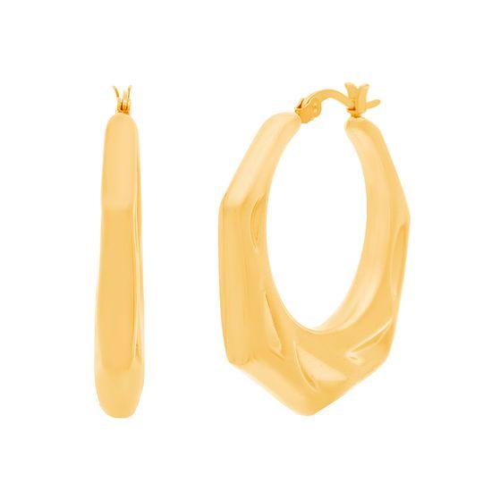 Imagen de Gold-Tone Stainless Steel Hexagon Hoop Earring