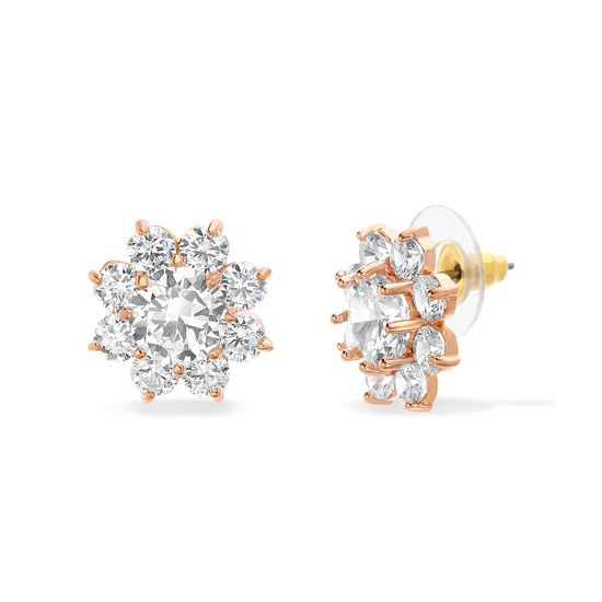 Imagen de Rose-Tone Alloy Cubic Zirconia Floral Design Post Earring