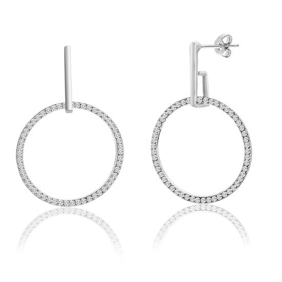 Imagen de Silver-Tone Alloy Polished Bar Dangling Crystal Open Circle Post Earring