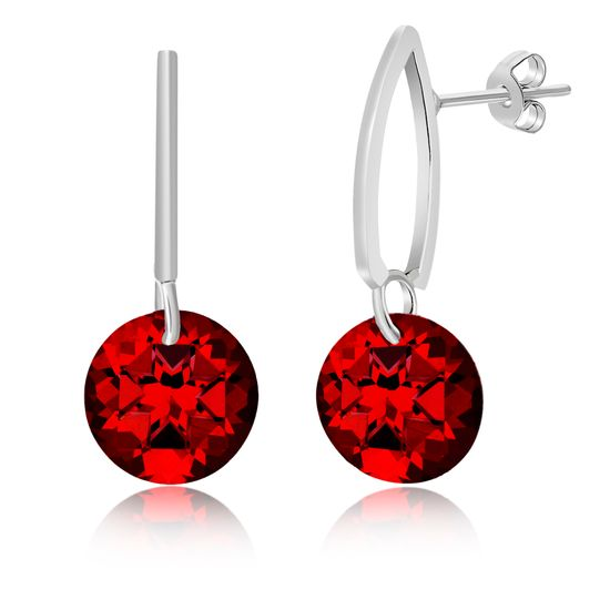 Imagen de Silver-Tone Alloy Polished Double Bar Dangling Ruby Red Crystal Post Earring
