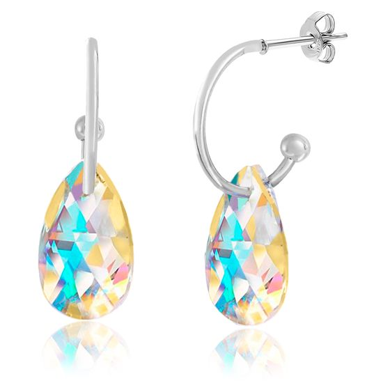 Picture of Silver-Tone Alloy Dangling Teardrop Aurore Boreale Crystal Polished Hoop Post Earring