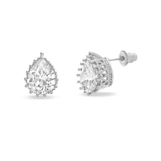 Imagen de Silver-Tone Alloy Teardrop Cubic Zirconia Stud Post Earring