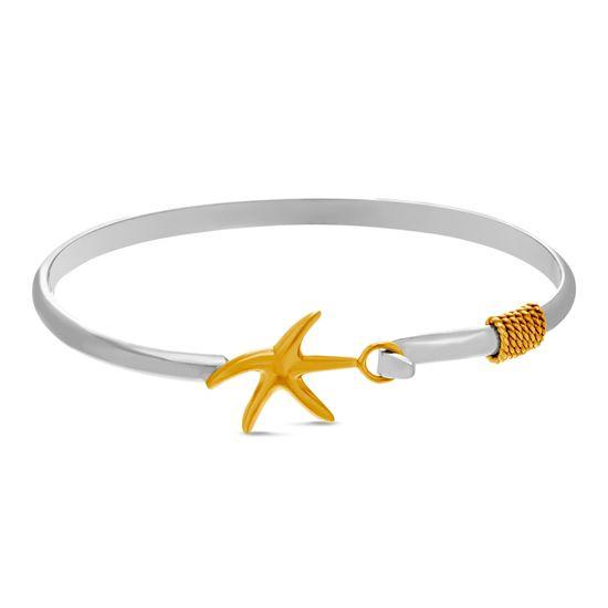 Imagen de Two-Tone Sterling Silver E-Coding Starfish Hook Closure Bangle