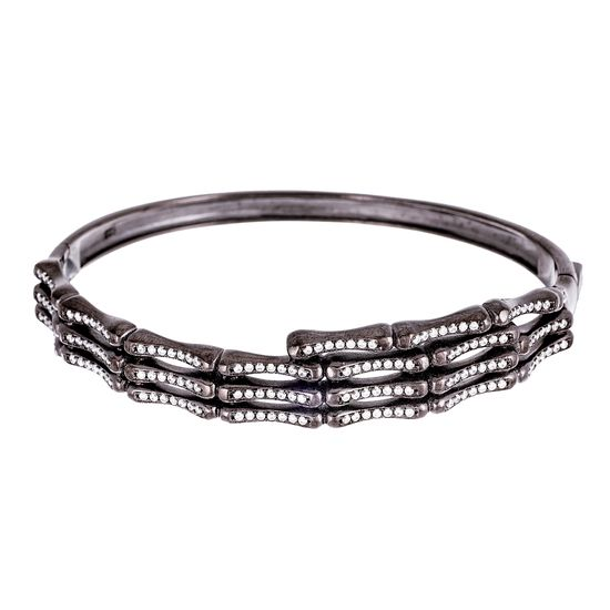 Imagen de Black Onyx Sterling Silver Cubic Zirconia Ribbed Design Bangle