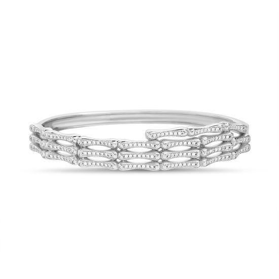 Imagen de Sterling Silver Cubic Zirconia Ribbed Design Bangle