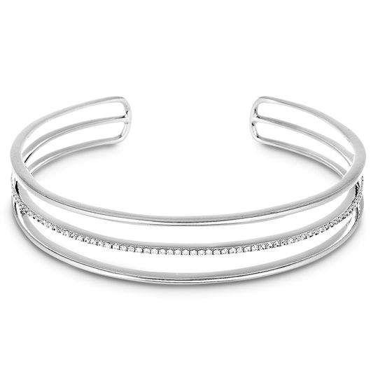 Imagen de Cubic Zirconia Triple Open Strand Cuff Bangle in Sterling Silver