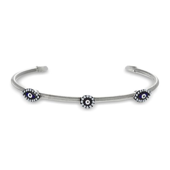 Imagen de Two-Tone Sterling Silver Cubic Zirconia Multi Evil Eye Cuff Bangle