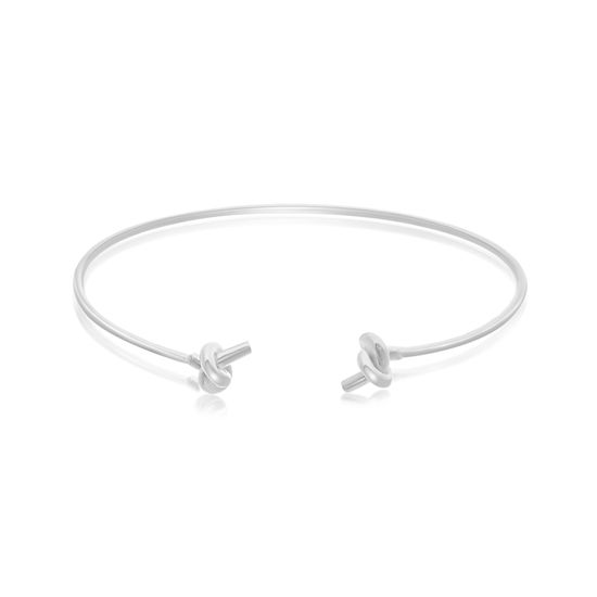 Picture of Sterling Silver Ecoat Rope Knot Ends Cuff Bangle