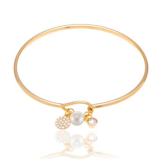 Imagen de Sterling Silver Cubic Zirconia Pearl and Circle Charm Bangle