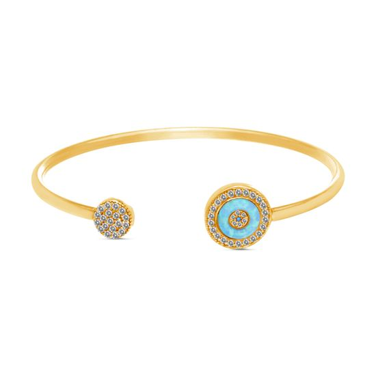 Imagen de Sterling Silver Cubic Zirconia Opal Evil Eye Cuff Bangle