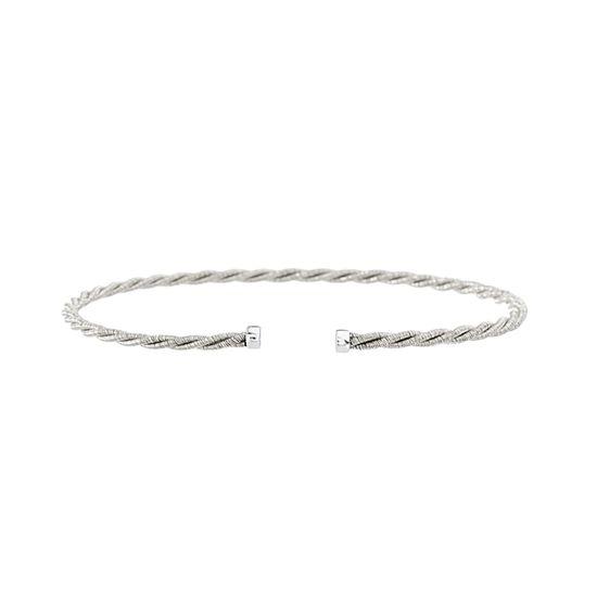 Imagen de Silver-Tone Sterling Silver Twisted Wire Design Cuff Ends Bangle